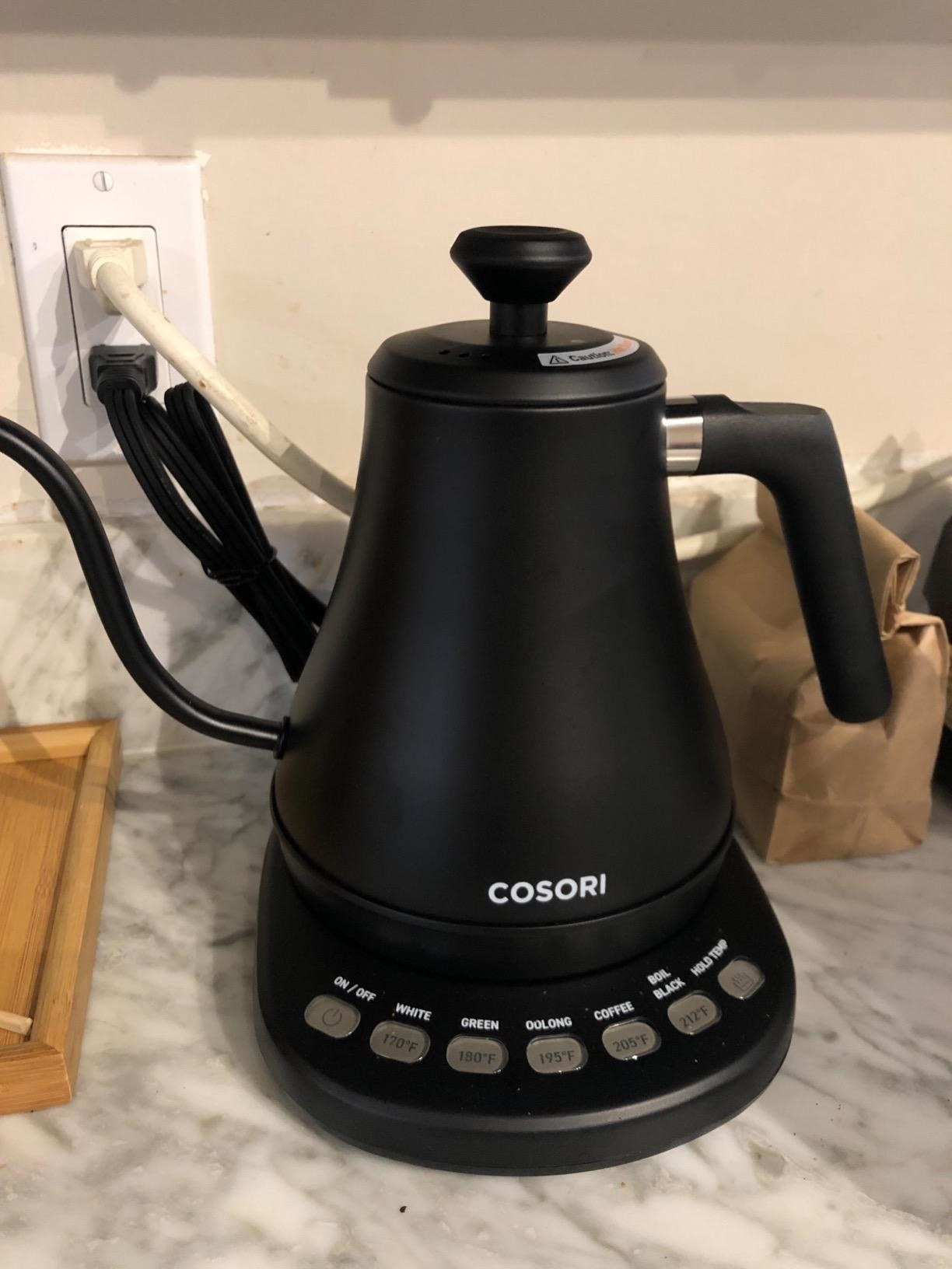Reviewer image of the cosori electric kettle on a kitchen counter
