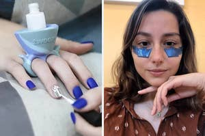 On the left, a nail polish holder, and on the right, an eye mask