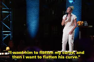 """A still of Chelsea saying """"I want him to flatten my curve, and then I want to flatten his curve"""""""