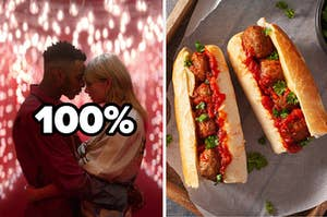 "Taylor Swift is holding a man on the left with a label that reads ""100%"" and a meatball sub on the right"