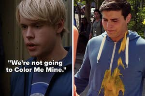 "Sam from ""Glee"": ""We're not going to Color Me Mine,"" Drew from ""Degrassi"" gets a smoothie thrown on him"