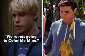 """Sam from """"Glee"""": """"We're not going to Color Me Mine,"""" Drew from """"Degrassi"""" gets a smoothie thrown on him"""