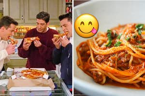 A group of friends are on the left eating pizza with pasta on the right and a yummy face emoji