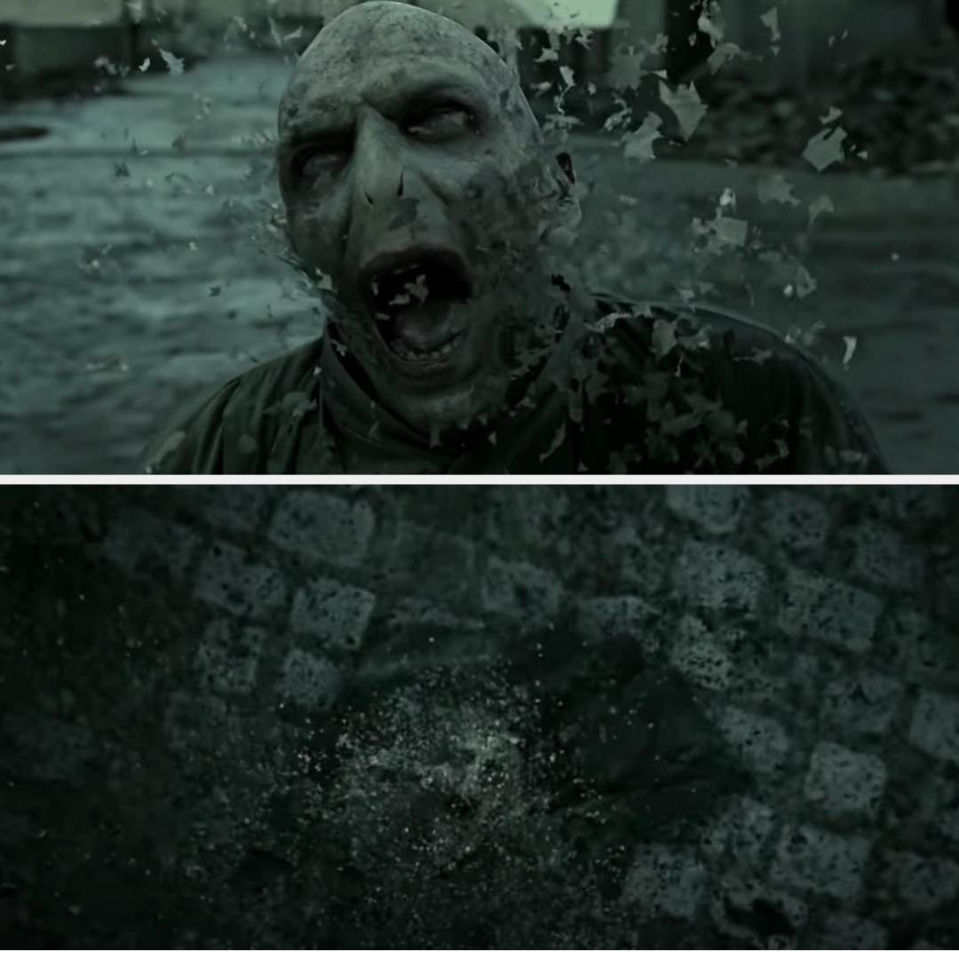 """Voldemort dying in """"Deathly Hallows: Part 2"""""""