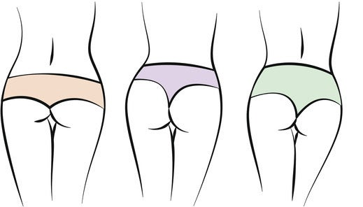 Illustration of three derrieres