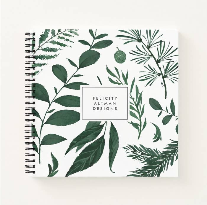 Notebook with green leaf design and custom name
