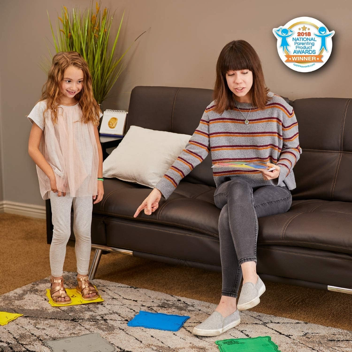A parent and child playing The Floor is Lava game