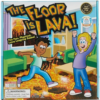 The Floor is Lava game box showing two animated children playing the game