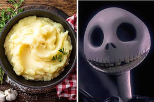 A bowl of mashed potatoes are on the left with a skeleton on the right