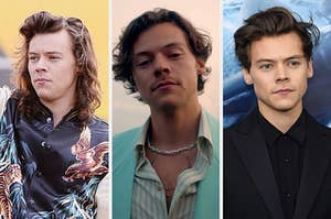 """On the right, Harry Styles with long hair performing on """"Good Morning America,"""" in the middle, Harry Styles in the """"Golden"""" music video, and on the right, Harry Styles on the """"Dunkirk"""" red carpet"""