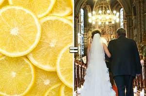 Lemon and wedding in church