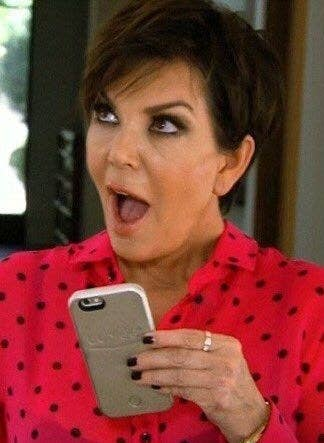 Kris Jenner with a look of shock on her face