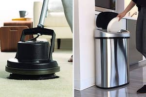 A floor scrubber, a touchless trash can
