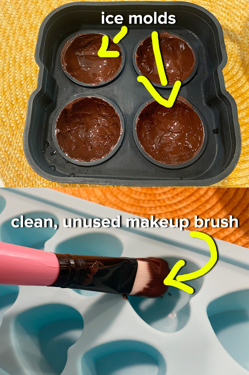 melted chocolate is painted onto the sides of a silicone ice mold