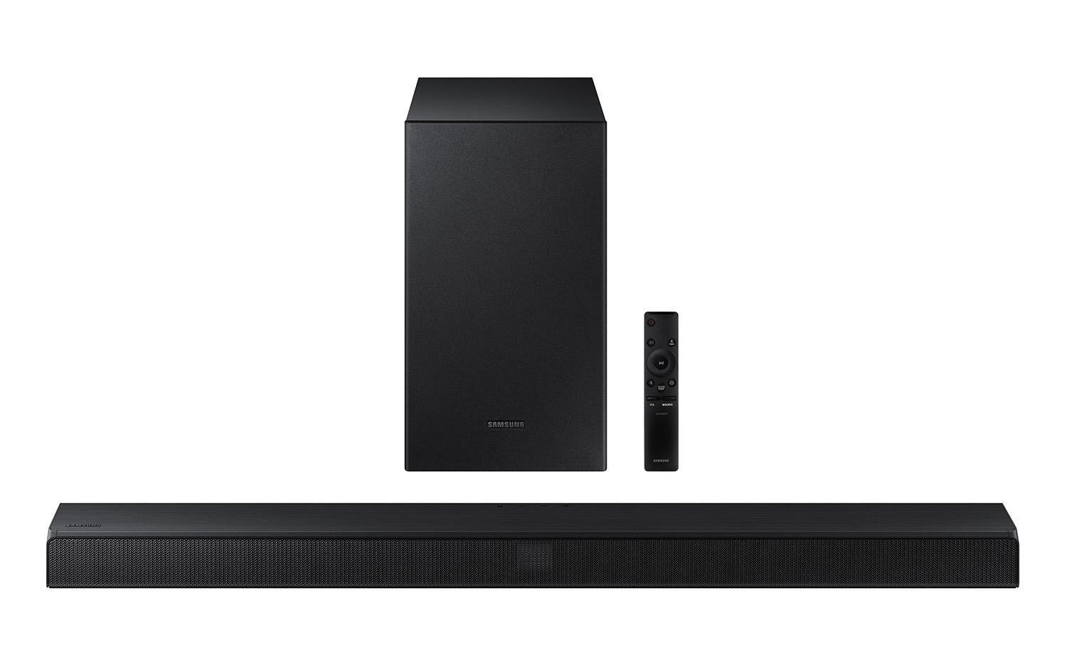 the long black sound bar, remote, and subwoofer