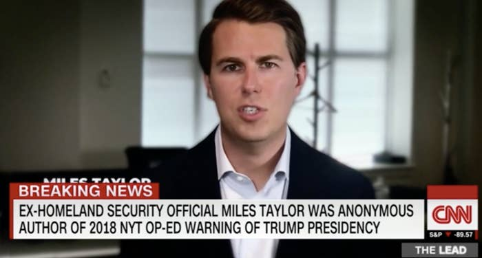 """A man appears on CNN with the chyron """"Ex-homeland security official Miles Taylor was anonymous author of 2018 NYT op-ed warning of Trump presidency"""""""