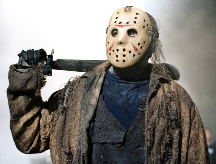 Jason Voorhees in his famous hockey mask and holding a machete