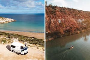 Side by side image showing a camper van parked right up on the beach and a small boat in the middle of the Murray River
