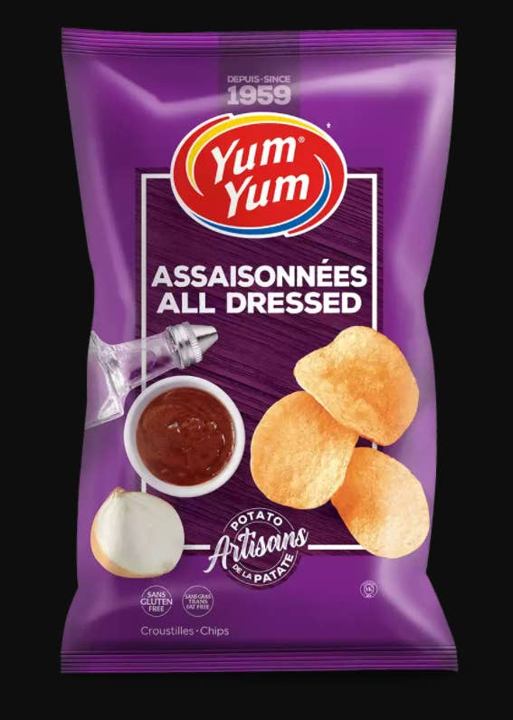 A bag of Yum Yum's All Dressed Chips
