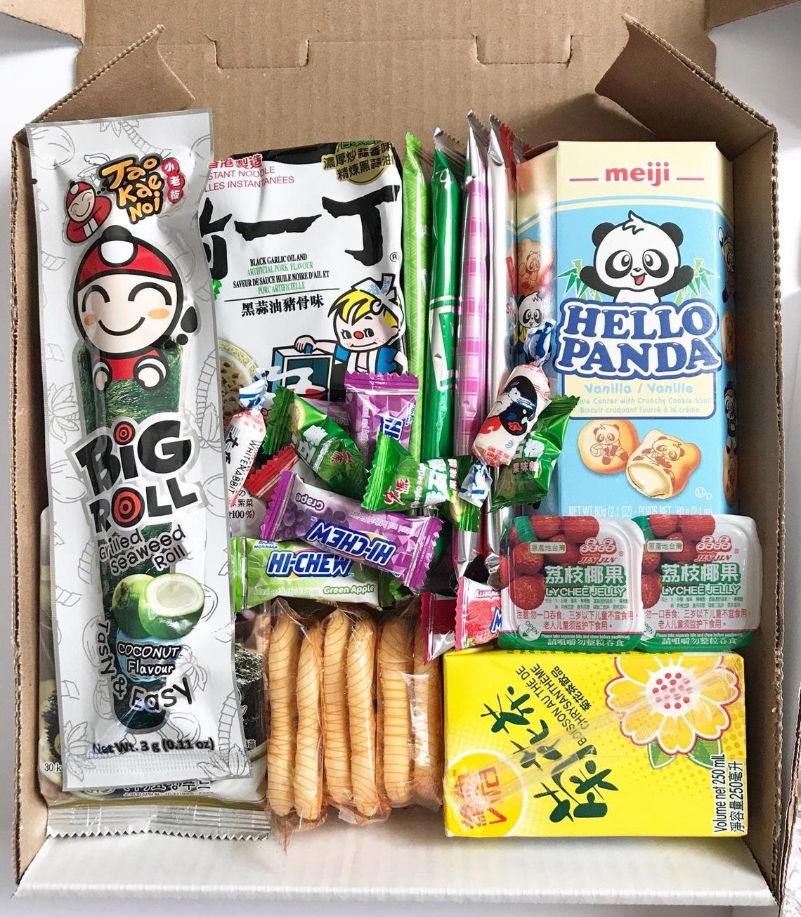 A box of candies and snacks