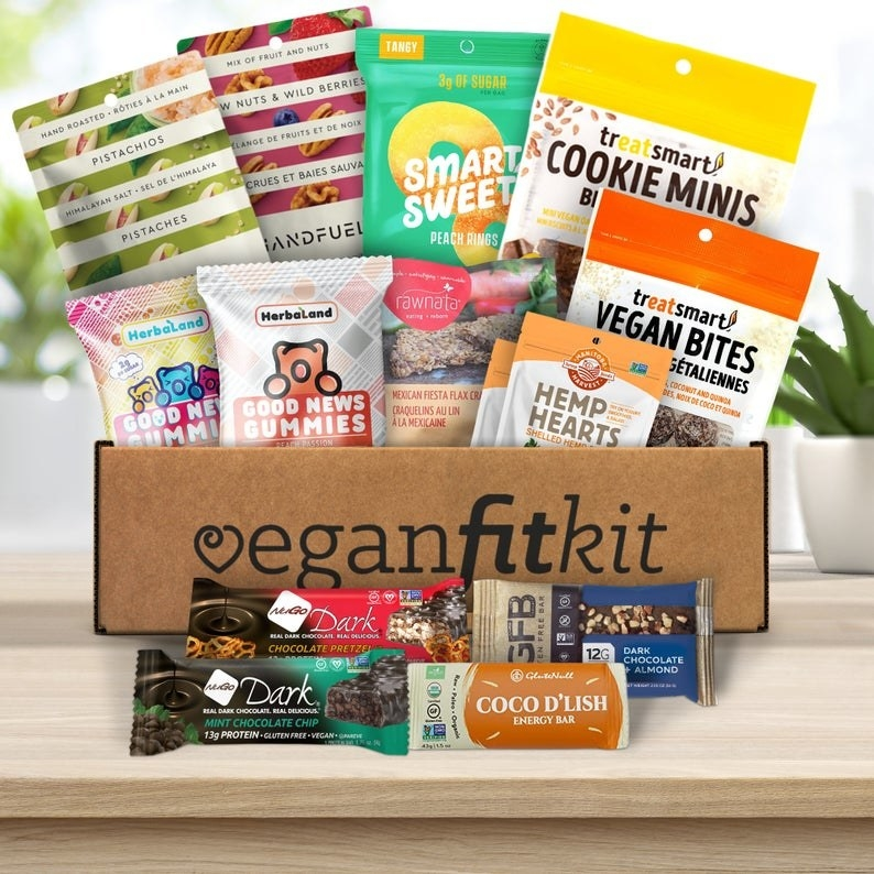 A box filled with vegan treats