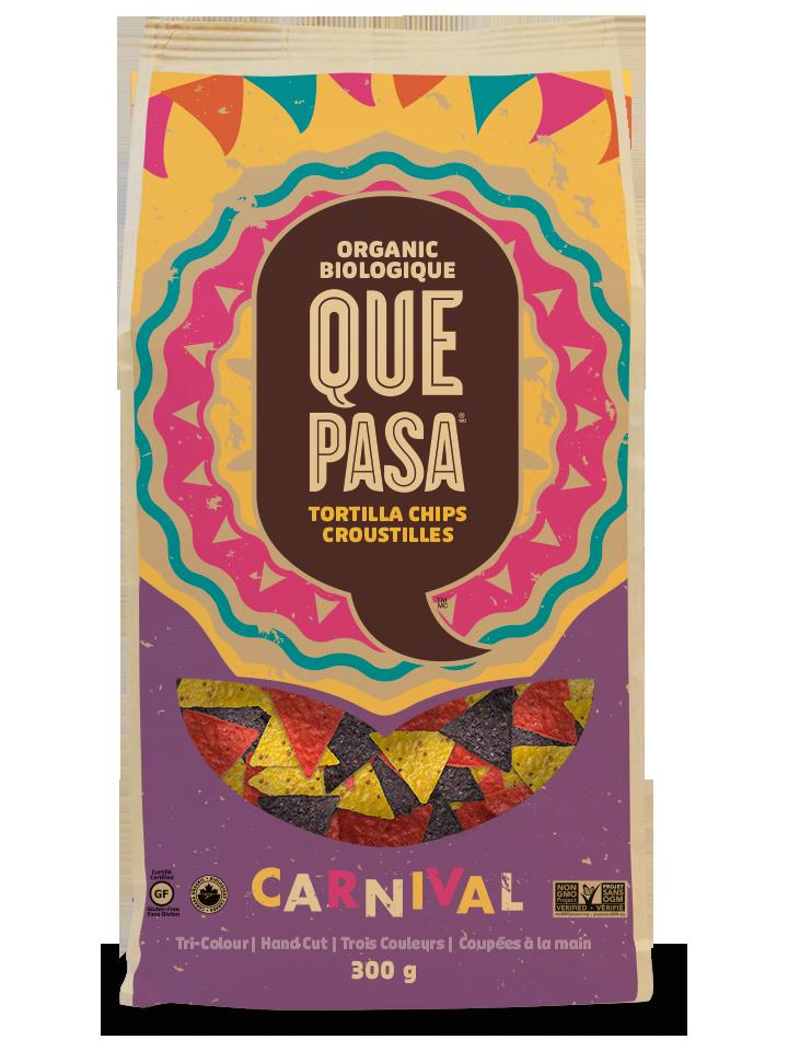 A bag of Que Pasa Carnival Tortilla Chips