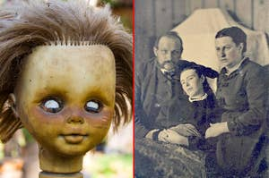 An creepy old baby doll covered in dirt, and a Victorian era family