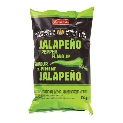 A bag of Irresistibles Jalapeño Pepper Flavour Old-Fashioned Chips