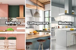 Three kitchens: a colorful one, a bright one with big windows, and a sleek, minimalist one, labeled