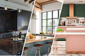A dark marble kitchen, a light, wood kitchen, and a bright colored kitchen