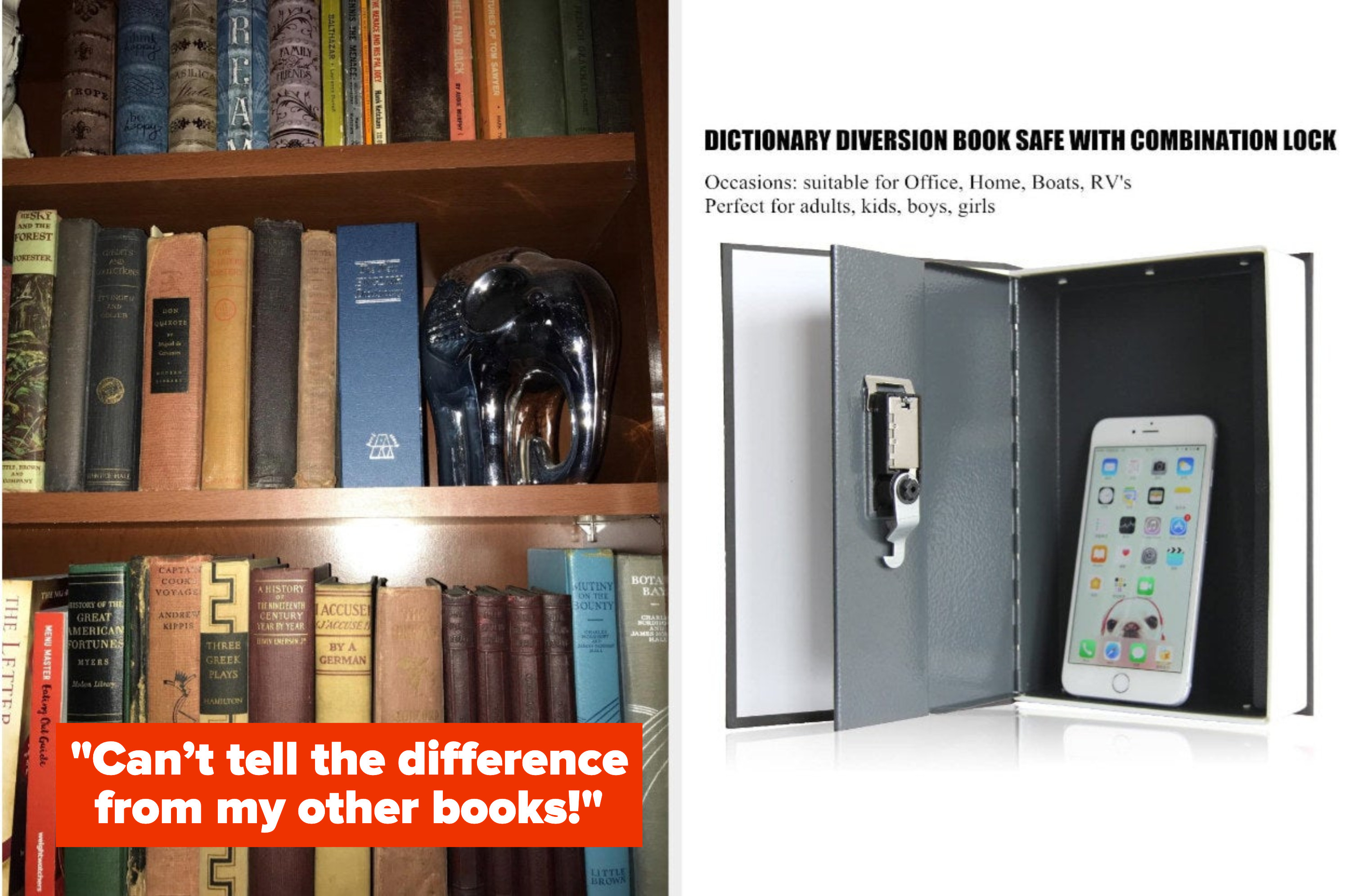 the left side shows a stack of books on a shelf with the fake book in the mix. The right side shows the book opened which reveals a safe and has a smartphone in it.