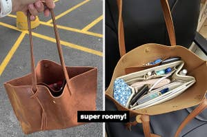 """on left reviewer holding brown bag and on right reviewer showing the bag with a ton of stuff inside labeled """"so roomy"""""""