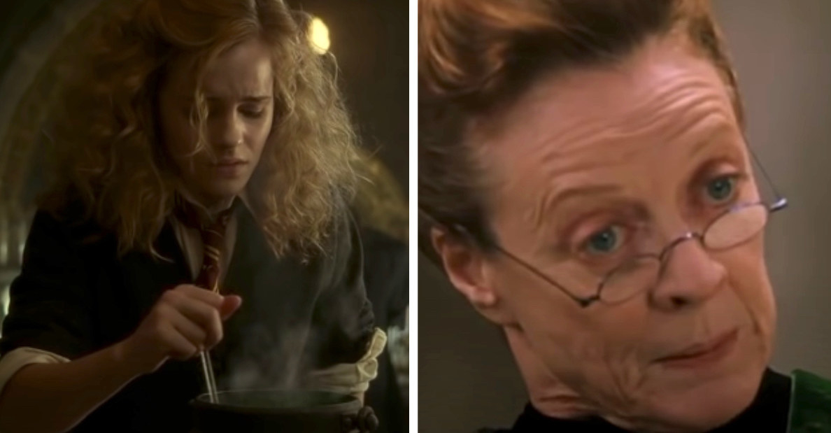 Hermione failing making a potion in potions class; Professor McGonagall staring at Ron and Harry quizzically