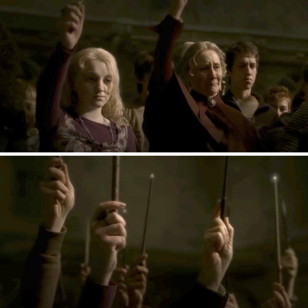 Luna Lovegood and Madam Pomfrey raising their wands in the air in honor of Dumbledore's death