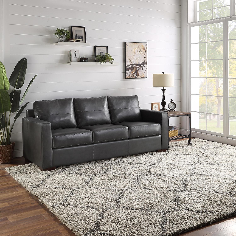the black leather matchbox sofa