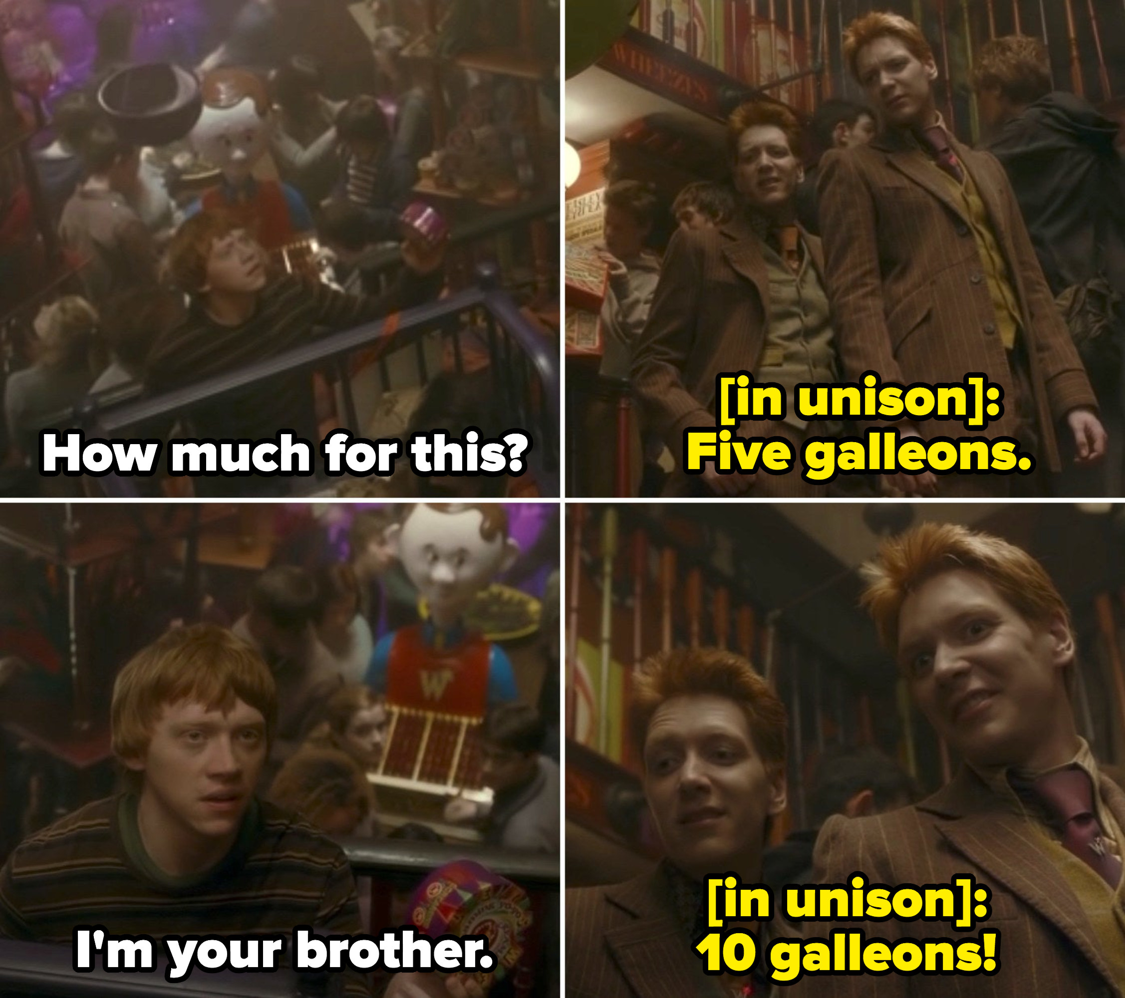 Ron bargaining to buy a toy at Fred and George's joke shop