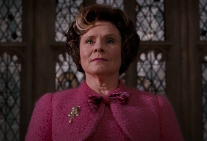 Umbridge standing in front of The Great Hall as new Headmistress of Hogwarts