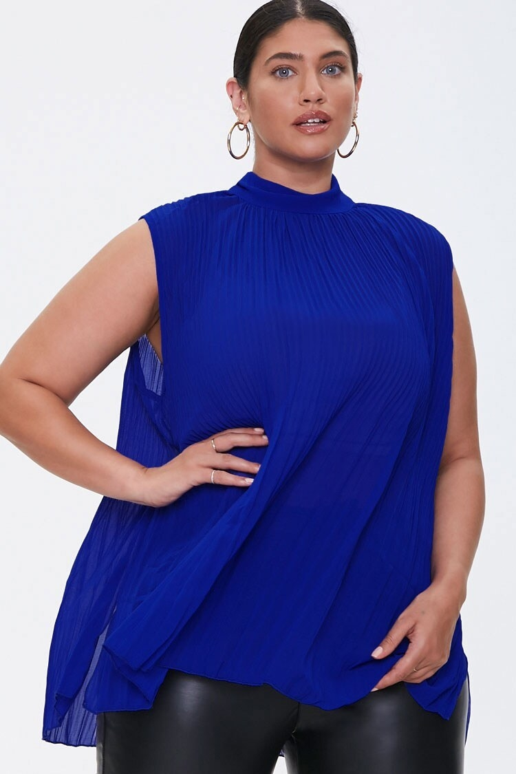 Model wearing the sleeveless top in royal blue