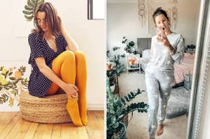 to the left: a model in yellow tights and a dress, to the right: a reviewer in grey pajamas with stars on them