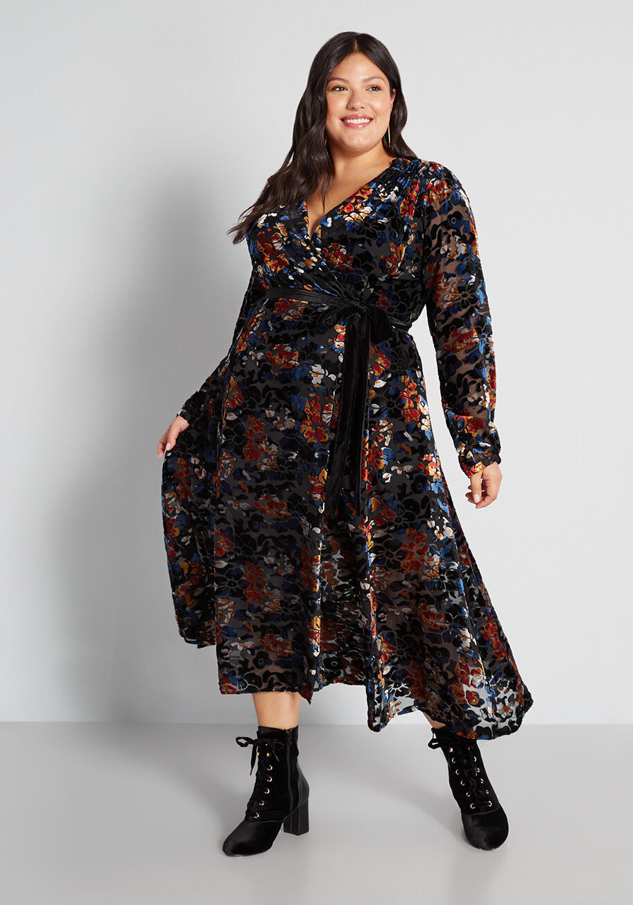 the dark blue, red, and black floral dress