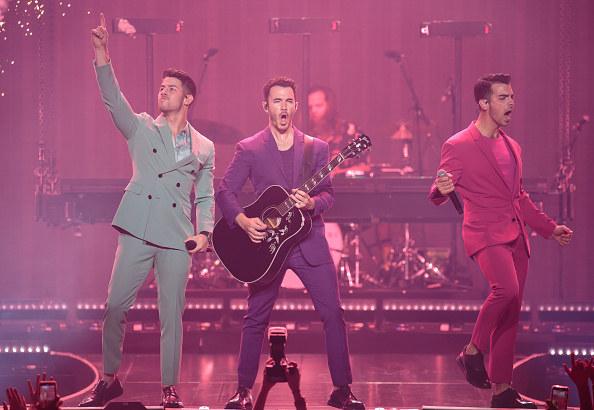 Nick Jonas, Kevin Jonas and Joe Jonas of Jonas Brothers perform at Sprint Center