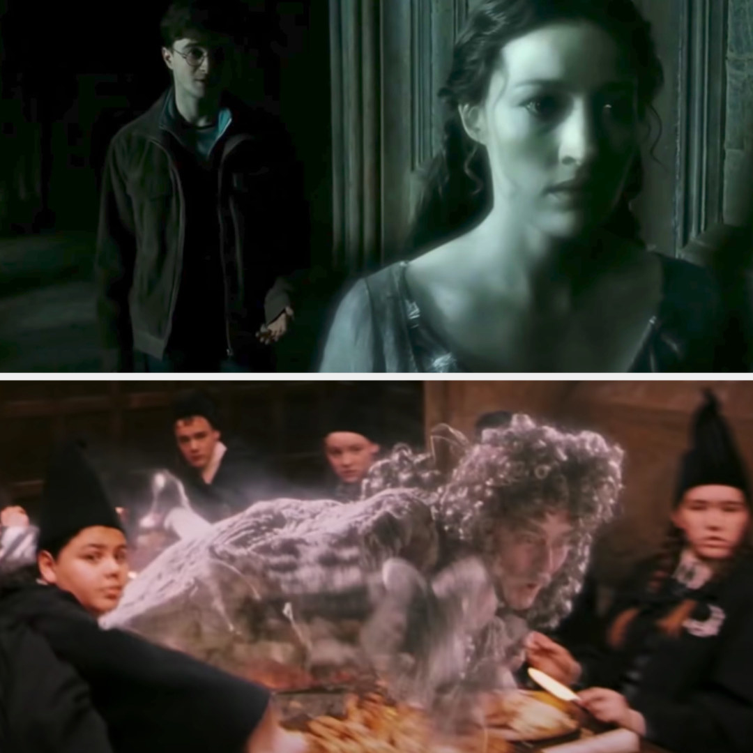 """Helena Ravenclaw talking to Harry in """"Deathly Hallows: Part 2;"""" the Bloody Baron flying over Slytherin's table in """"Sorcerer's Stone"""""""