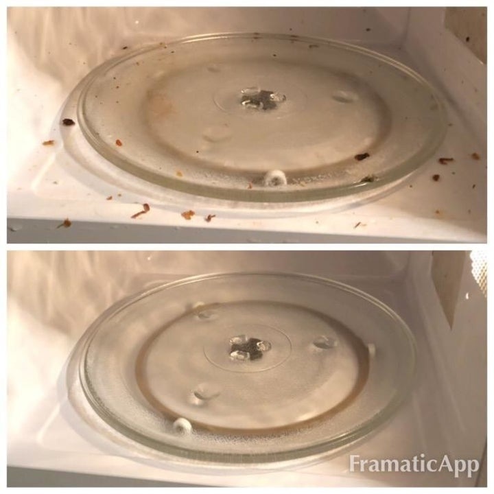 Reviewer image of before and after of dirty and clean microwave