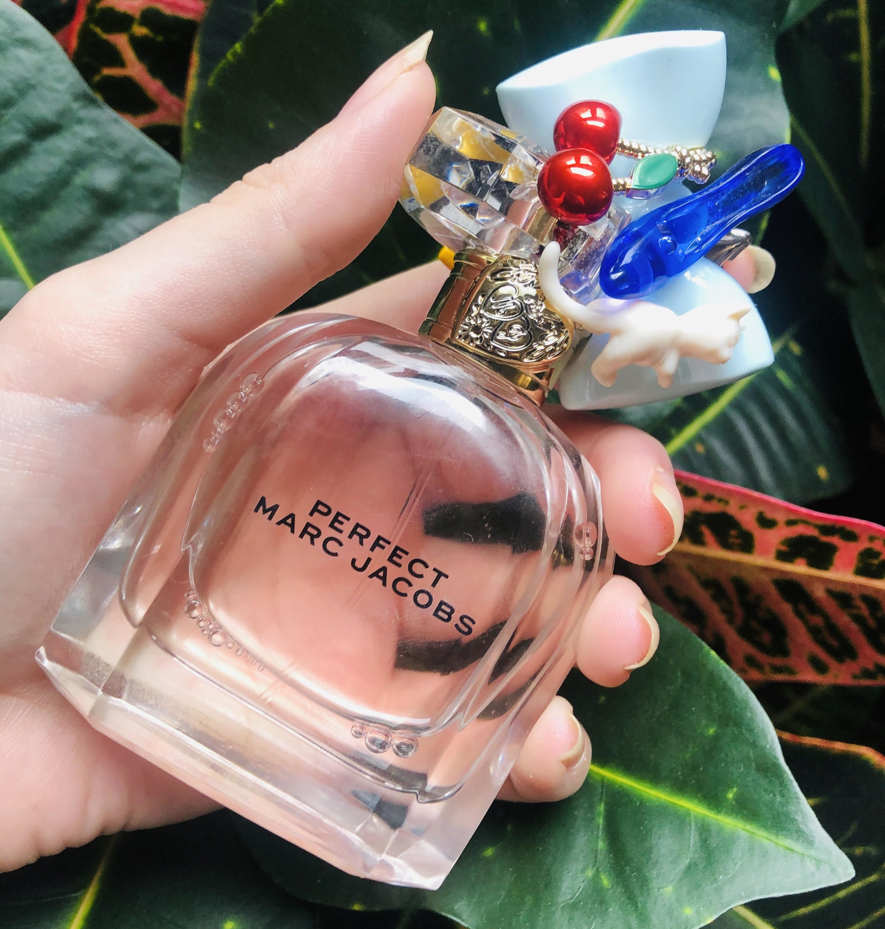 A person holding the perfume in front of a plant