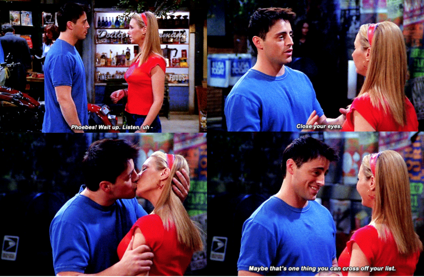 "Lisa Kudrow as Phoebe Buffay and Matt LeBlanc as Joey Tribbiani in the show ""Friends."""
