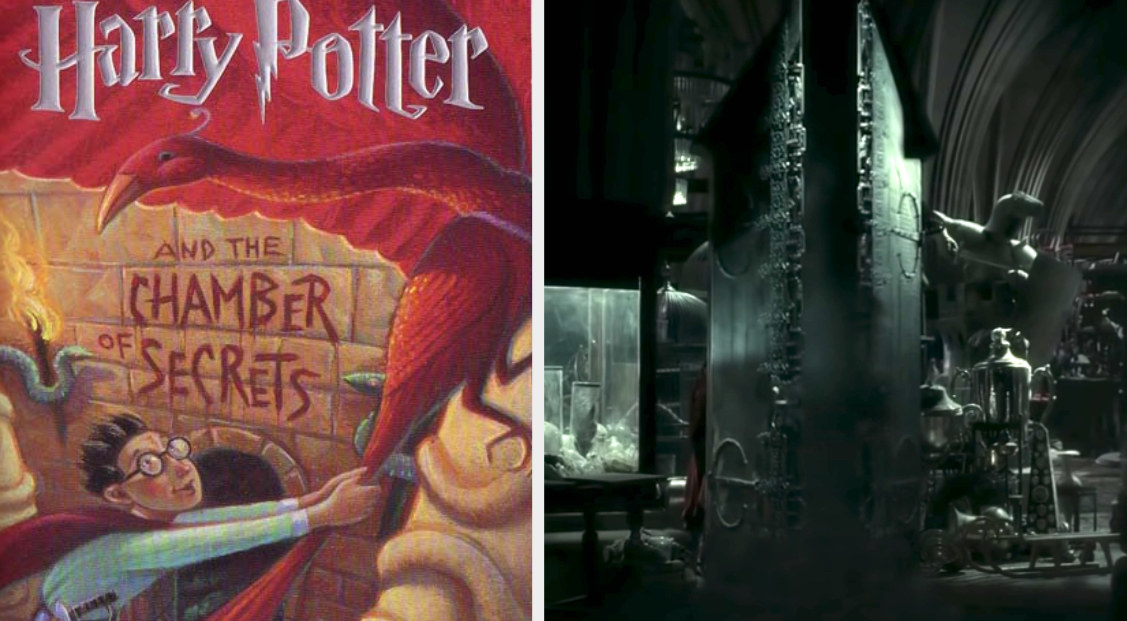 """The book cover of """"Chamber of Secrets"""" and the Vanishing Cabinet in """"Half-Blood Prince"""""""