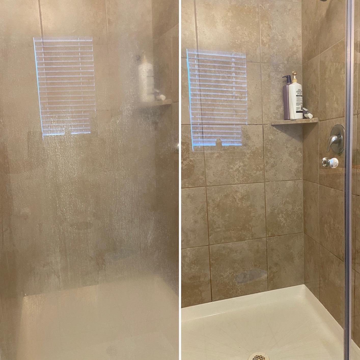 Reviewer image of stained shower door vs clean shower door