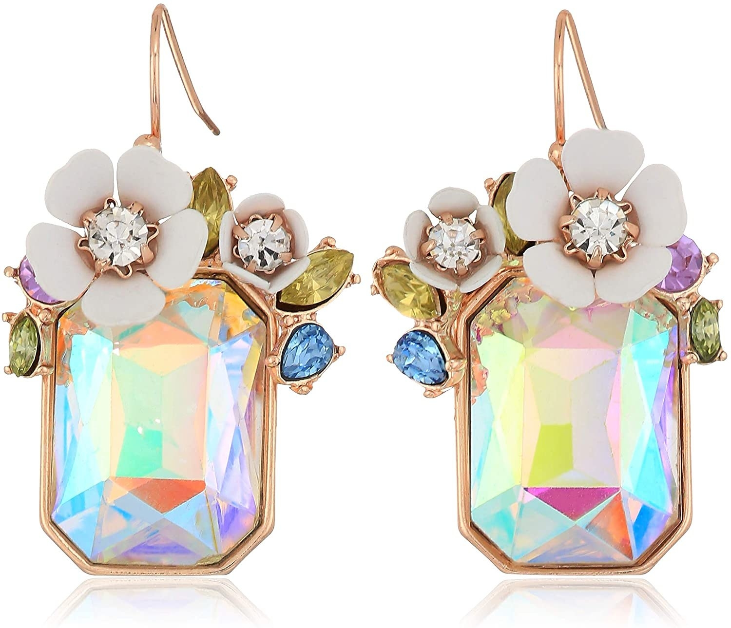 The earrings with a large iridescent stone surrounded by white flowers and colorful rhinestones on the top half