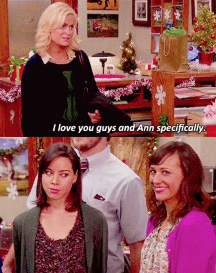 "Amy Poehler as Leslie Knope and Rashida Jones as Ann Perkins in the show ""Parks and Recreation."""