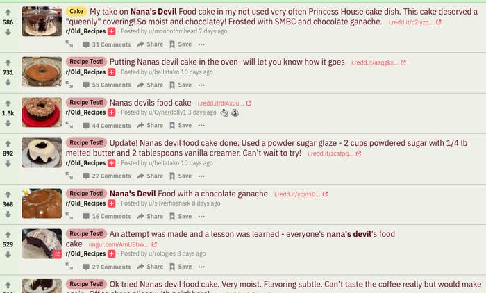 A Reddit chain of people discussing and posting photos of their attempts at Nanas devil's food cake.